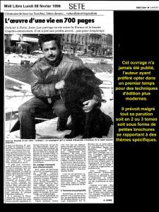 Midi Libre 26 02 1996 l'oeuvre d'une vie